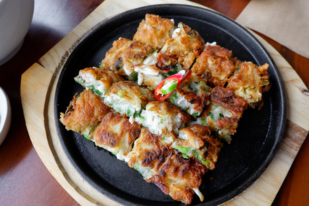 Korea style Pancake, fried food in restaurant Stock Photo