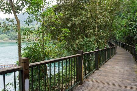 wooden walkway to Sun Moon Lake Ropeway Station, Taiwan