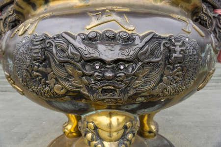 Sun Moon Lake, Taiwan- November 15, 2019: Close up incense burner at the main entrance of Wen Wu Temple