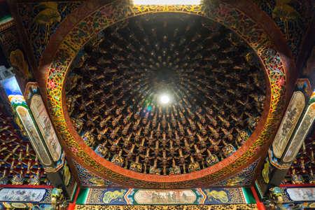 Sun Moon Lake, Taiwan- November 15, 2019: building interior at the top of ceiling Wen Wu temple Редакционное