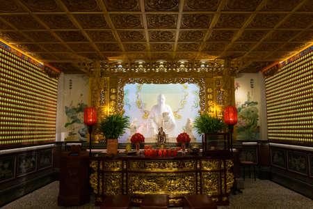 Sun Moon Lake, Taiwan- November 15, 2019: inside of Wen Wu Temple at Sun Moon Lake, in Yuchi Township, Nantou County Редакционное