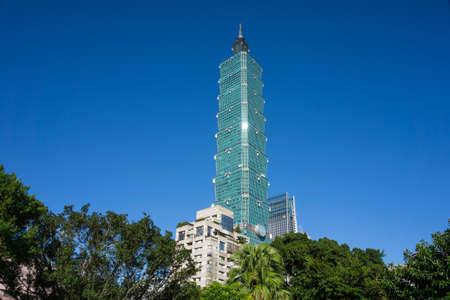 Taipei, Taiwan- November 16, 2019: Taipei 101 building view from Forty-four South Village Редакционное