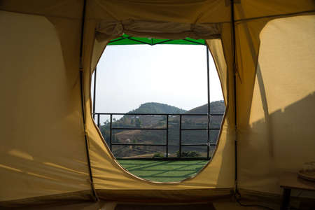 View from inside a tent at Mon Jam, Mae Rim, Chiang Mai, the north of Thailand