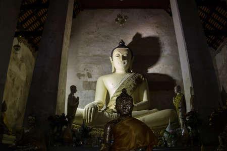 Phra Nakhon Si Ayutthaya –February 9, 2020: Luang Pho Khao ancient Buddha in Wat Mae Nang Pleum, the  old Temple in Thailand