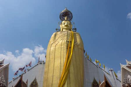 BANGKOK, THAILAND, February 12, 2020: The Golden Buddha statue which is 32meters high at Wat Intharawihan (Wat Rai Phrik)