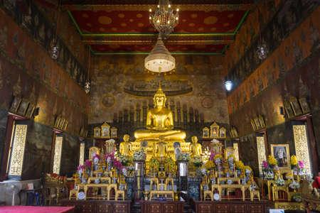 BANGKOK, THAILAND, February 12, 2020: The Buddha Statue at Wat Rakhang Khositaram Woramahawiharn