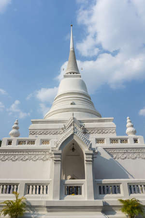 BANGKOK, THAILAND, February 11, 2020: Wat Pathum Wanaram Temple is located between the two shopping malls Siam Paragon and CentralWorld, Thailand