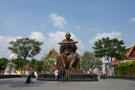 BANGKOK, THAILAND, February 12, 2020: Somdet Phra Phutthachan Statue at Wat Rakhang Khositaram Woramahawiharn