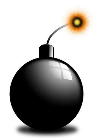 Cartoon bomb isolated on white background photo