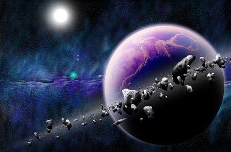 melkachtig: planeet met asteroïden