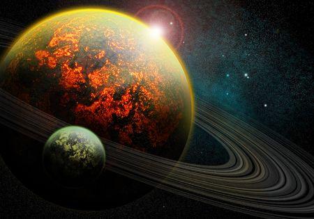 Burning planet Stock Photo
