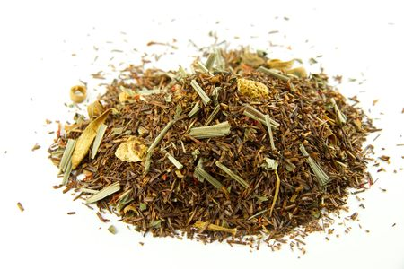 rooibos tea:   Tea mixture isolated on white background