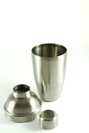 Stainless steel cocktail shaker isolated on white background