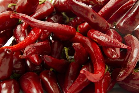 Bunch of fresh red peppers Stock Photo