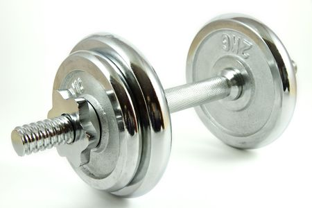 kilograms:   Chrome dumbbell isolated on a white background