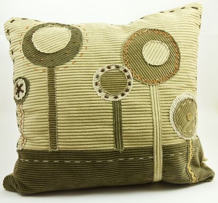Contemporary decorative pillow isolated on white background Stock Photo