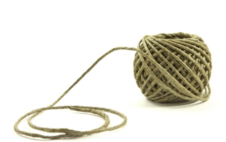 Hemp twine hank isolated on a white background