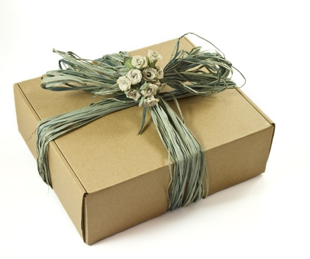 Cardboard gift box isolated on a white background Stock Photo - 9150388