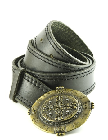 Black leather belt isolated on a white background