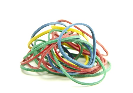 rubber bands:  Colorful rubber bands isolated on a white background Stock Photo