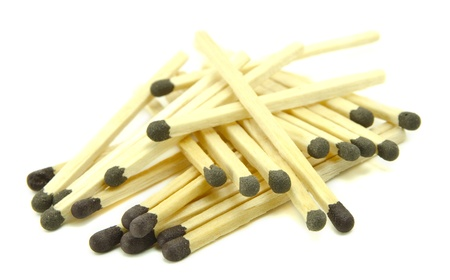 Pile of matches isolated on a white background