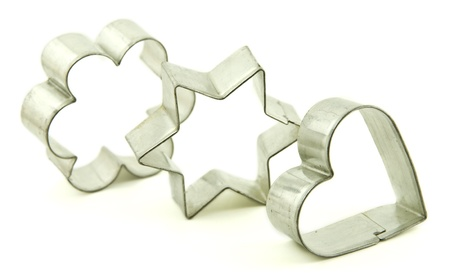 cookie cutters:  Flower, star and heart shape baking molds Stock Photo