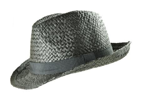 Black straw summer hat isolated on white background photo