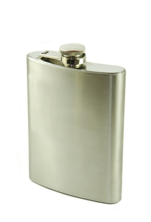 Hip flask isolated on a white background photo