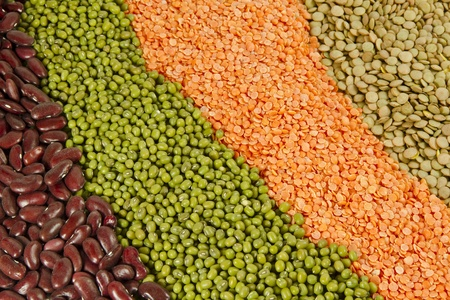 Variety of colorful raw beans