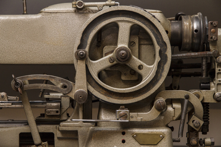 Industrial sewing machine close-up