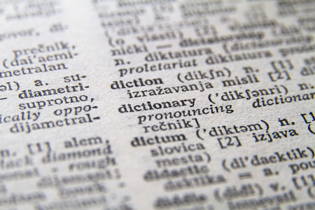 Word dictionary close-up