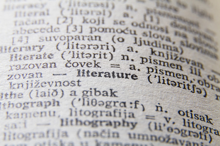 Dictionary close-up on word literature