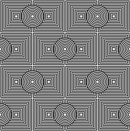 Concentric circles and rectangles. Psychedelic seamless pattern. Illustration