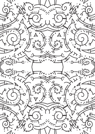 Crazy decorative artistic line art seamless pattern background