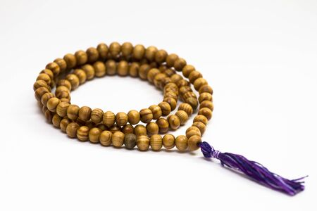 mala beads made of wood. Prayer beads. Spirit. Religion. Faith.