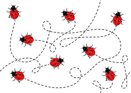Seamless pattern made of cute ladybugs. Ilustrace