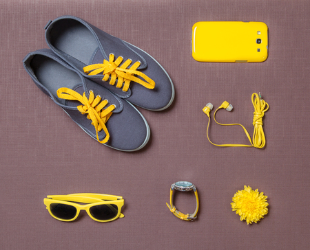 Yellow kit it of random object for woman, girl, student, teenager, hipster