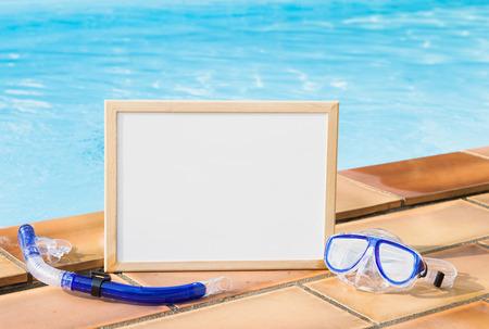 natacion: Máscara, tablero y piscina