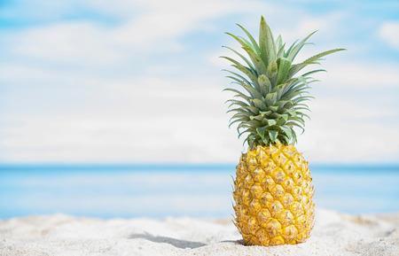 Pineapple on the beach with blue sky and sea background. Zdjęcie Seryjne