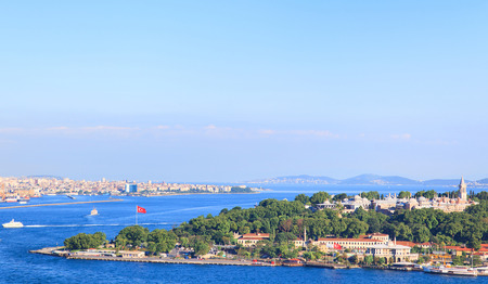 constantinople ancient: Istanbul   View from Galata tower to Golden Horn, Turkey. Stock Photo