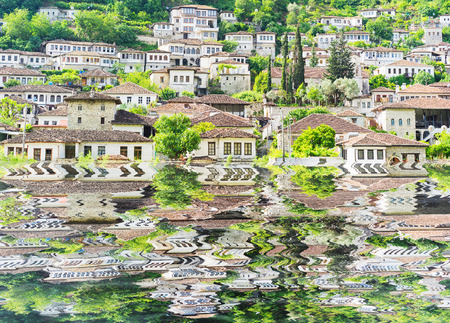 architectural tradition: BERAT: Traditional architecture in the old town. Stock Photo