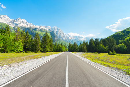 Road in forest to Mountain with snow-capped peaks.