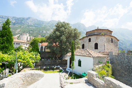 sufi: Old Mosque In Castle Of Kruja is a small Bektashi temple called The Dollma Teqe. Kruje, Albania. Stock Photo