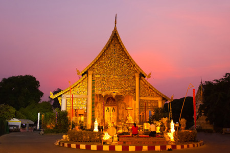 Old temple of Wat Lok Molee at sunset. Chiang mai, Thailand