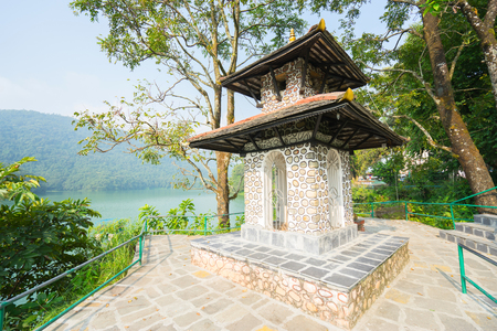 phewa: Nepal, Pokhara, sanctuary on the shores of lake Phewa (Fewa) Stock Photo
