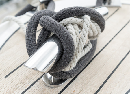 Sailboat winch and rope yacht detail. Yachting concept. Reklamní fotografie