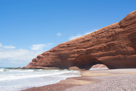 The seaside Legzira in Morocco is known for its famous rock formations.
