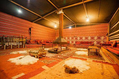 Inside of a traditional Bedouin tent in Arab desert.