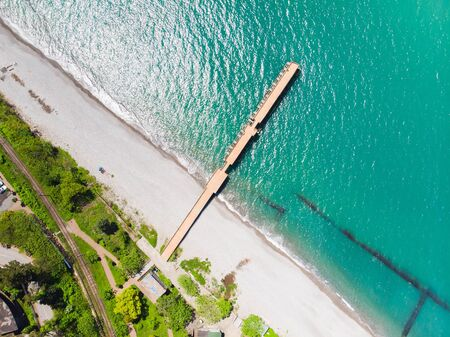 Beach and bridge. Aerial view. Green cape, Batumi, Adjara, Georgia. Standard-Bild