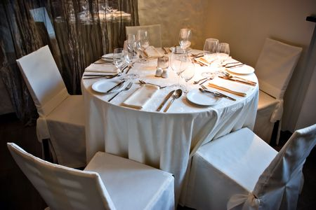 Restaurant interior with served table Stock Photo - 667402